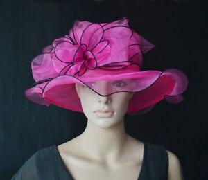 Ensoleillé Damenhut Pink Bord Noir Organza Occasion Chapeau Boucle Organzahut Mariage Neuf-afficher Le Titre D'origine