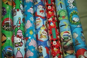 Christmas Wrapping Paper Gift Wrap Roll Paw Patrol Peppa Pig Mickey Tmnt Peanuts Ebay