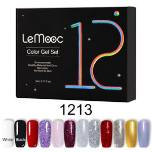 LEMOOC-12Stueck-Lot-Glitzer-Gellack-Nagel-Kunst-Set-Soak-Off-UV-Colors-Gel-Nail