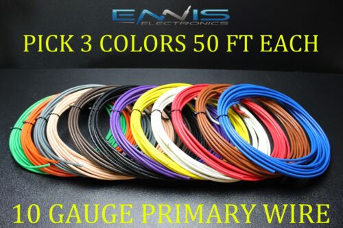10 GAUGE WIRE ENNIS ELECTRONICS PICK 3 COLORS 50 FT EA CABLE AWG COPPER CLAD