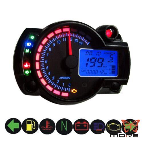 Streetbike Speedometer Tachometer With LCD Digital Backlight Motorbike Black