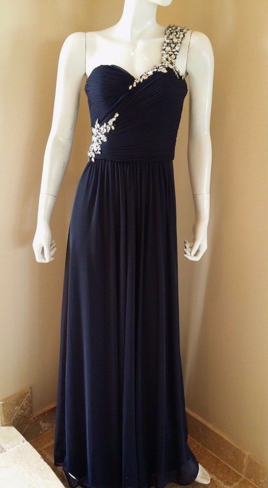 New XSCAPE EMBELLISHED ONE-SHOULDER JERSEY  blueE GOWN Sz 2 New