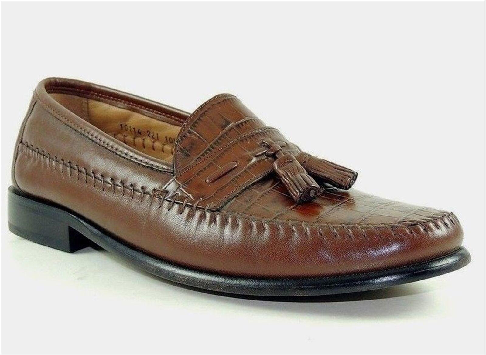 Tasso Elba Para Para Para hombres Zapatos Carter Slip-on Marrón Todo Cuero M a18706