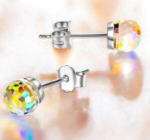 HYPOALLERGENIC-Stud-Earrings-Swarovski-Elements-Crystal-Siam-Aurora-Borealis