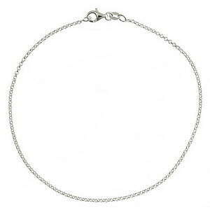 Fine Anklets Solid 925 Sterling Silver 3.2mm Italian Round Rolo Cable Link Chain Anklet Jewelry & Watches