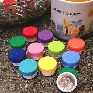 AMERICAN-100-White-1-4oz-Plastic-JARS-1TSP-Size-Container-10-Cap-Colors-3301