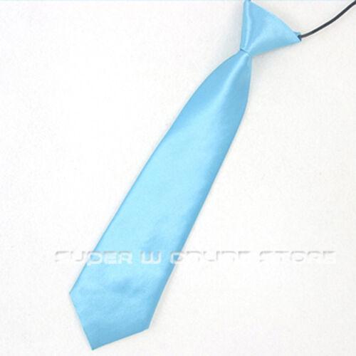 School Boy Tie Kids Necktie Toddler Wedding Solid Color Elastic Tie Necktie
