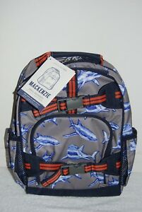 8ffd29fc70c0 New NO MONO Pottery Barn Kids SMALL Mackenzie Gray Navy SHARKS Backpack Blue