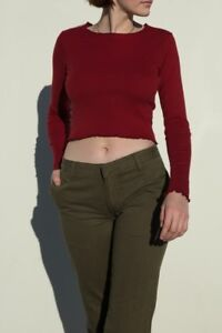 7d7aed75295 Image is loading brandy-melville-burgundy-crop-cotton-long-sleeve-ruffle-