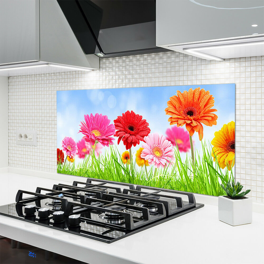 Crédence de cuisine en verre Panneau 120x60 Floral Fleurs Herbe