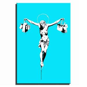 Jesus-Shop-Till-You-Drop-Banksy-Single-Canvas-Wall-Art-Picture-Print