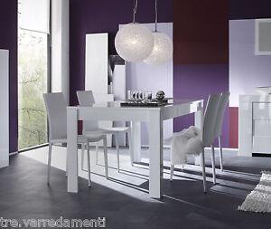 Tavolo moderno da salotto eos piana fissa da 180 o 160 cm bianco laccato lucido ebay - Tavolo da salotto moderno ...