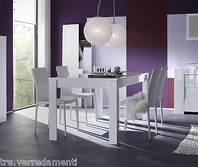 Tavolo moderno da salotto EOS piana fissa da 180 o 160 cm bianco laccato lucido