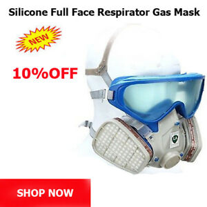 d6ebf60cb5c Silicone Full Face Respirator Gas Mask   Goggles Chemical Dust proof ...