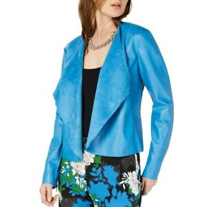 INC-NEW-Women-039-s-Draped-Front-Zip-Cuff-Faux-leather-Basic-Jacket-Top-TEDO