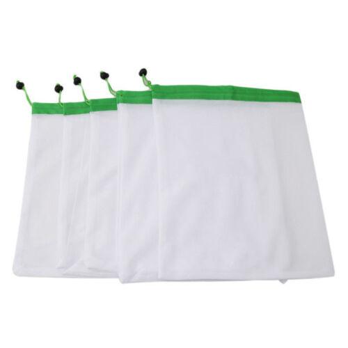 1pc Produce Bags Black Rope Mesh Vegetable Fruit Toys Storage Pouch Reusable