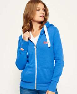 327769fb13a57 Details about New Womens Superdry Orange Label Primary Zip Hoodie Sky Blue  Marl