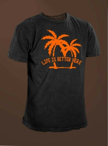Life Is Better Here Outdoor Beach Scene Ocean Palm Tree T-shirt.