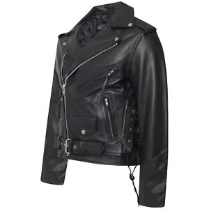 ee79a394006ee Image is loading MENS-CLASSIC-MOTORCYCLE-REAL-LEATHER-SIDE-LACE-BRANDO-