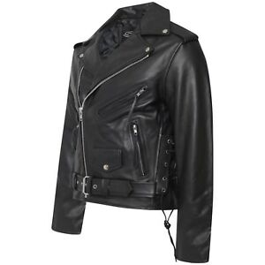 ee75c05267702 Image is loading MENS-CLASSIC-MOTORCYCLE-REAL-LEATHER-SIDE-LACE-BRANDO-