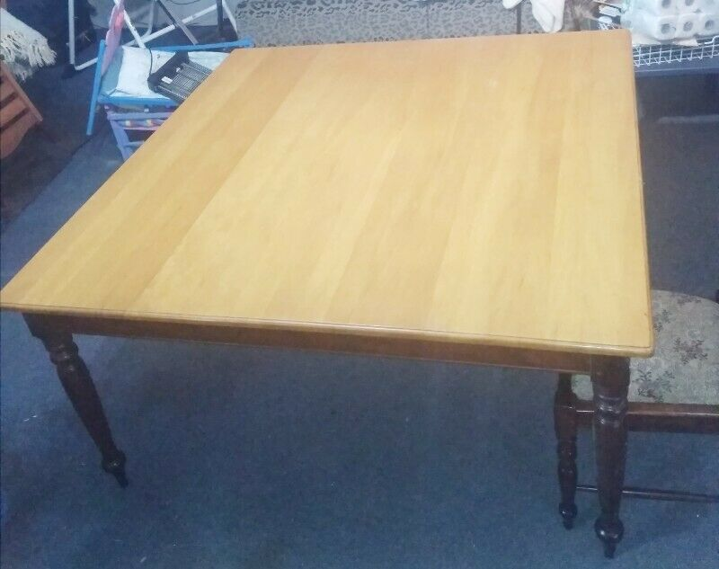 Solid Yellow Wood and Imbuia 8 Seater Dining Room Table and Chairs for Sale