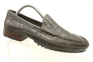 Cole-Haan-Brown-Crocodile-Print-Leather-Casual-Moc-Toe-Slip-On-Loafers-Men-039-s-8-M