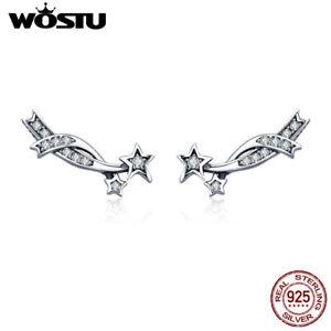 Wostu-Meteor-925-Sterling-Silver-Ear-Stud-Climber-CZ-Earrings-Women-Xmas-Gift