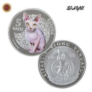 WR-Vanuatu-5-Vatu-Sphynx-Cat-Silver-Collectors-Coin-Mint-Rare-Collection-Gifts