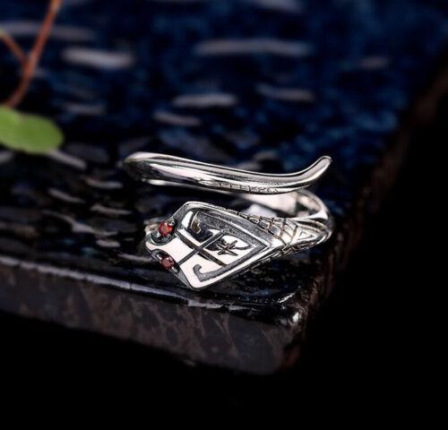 I03 Ring Silber 925 Schlange mit Augen aus rotem Kristall größenverstellbar