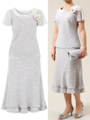 New Jacques Vert  Grey Spotted Layer Skirt /& Top Suit 10-16 Wedding RRP £168