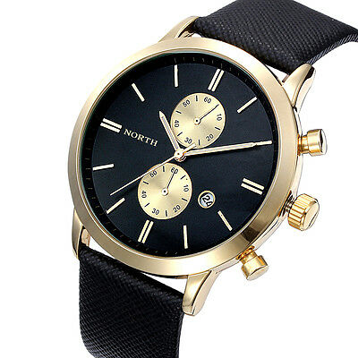 Fashion Charm Men Waterproof Watch Casual Date Leather Military Japan Watch Gift