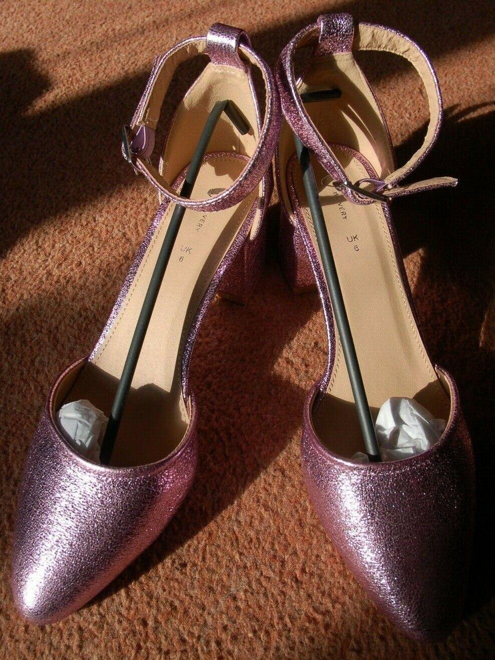 Nouveau UK 6 en relief feuille violets ouvert côté pointu Bride Cheville Block Talons Chaussures