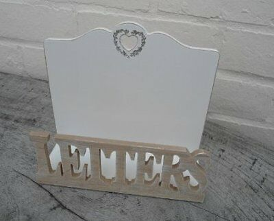 NEW  LETTER RACK CREAM  & NATURAL WOOD LETTERS AND HEART EFFECT BY  LESSER PAVEY