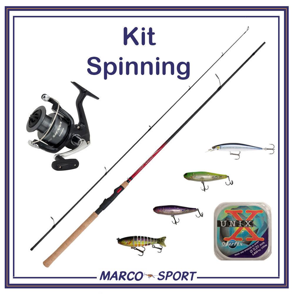 Kit barra y carrete de pesca Shimano Spinning Spinning Spinning set señuelos artificiales trucha a5ead6