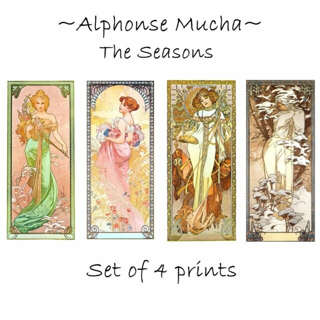 Deluxe Art Nouveau Decorative Print by Artdash® ~ A. Mucha  THE SEASONS (c.1900)