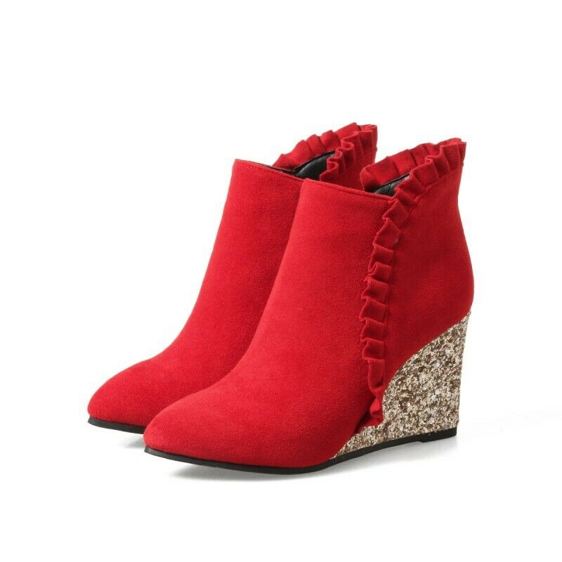 2019 Womens High Wedge Heel shoes Zip Suede Lace Pumps Ankle Boots Pointy Toe