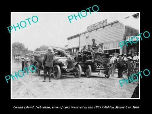 OLD 8x6 HISTORIC PHOTO OF GRAND ISLAND NEBRASKA, THE 1909 GLIDDEN MOTOR TOUR