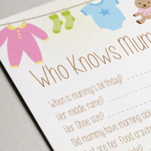 /'Who Knows Mummy Best/' Baby Shower Game Cards 16 A6 Party Game Guest Cards