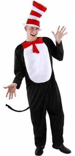 Cat in the Hat Jumpsuit Dr Seuss Cartoon Fancy Dress Up Haloween Adult Costume