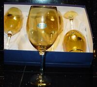 Made In Italy Collection Italian Amber Tall Wine Glass Set In Box Gold Trim