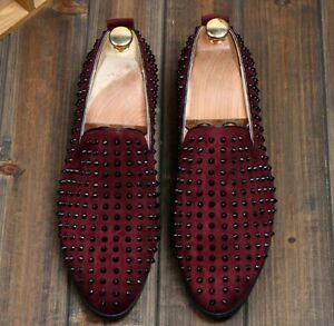 fashion mens spike suede pointy punk studded rivet loafer