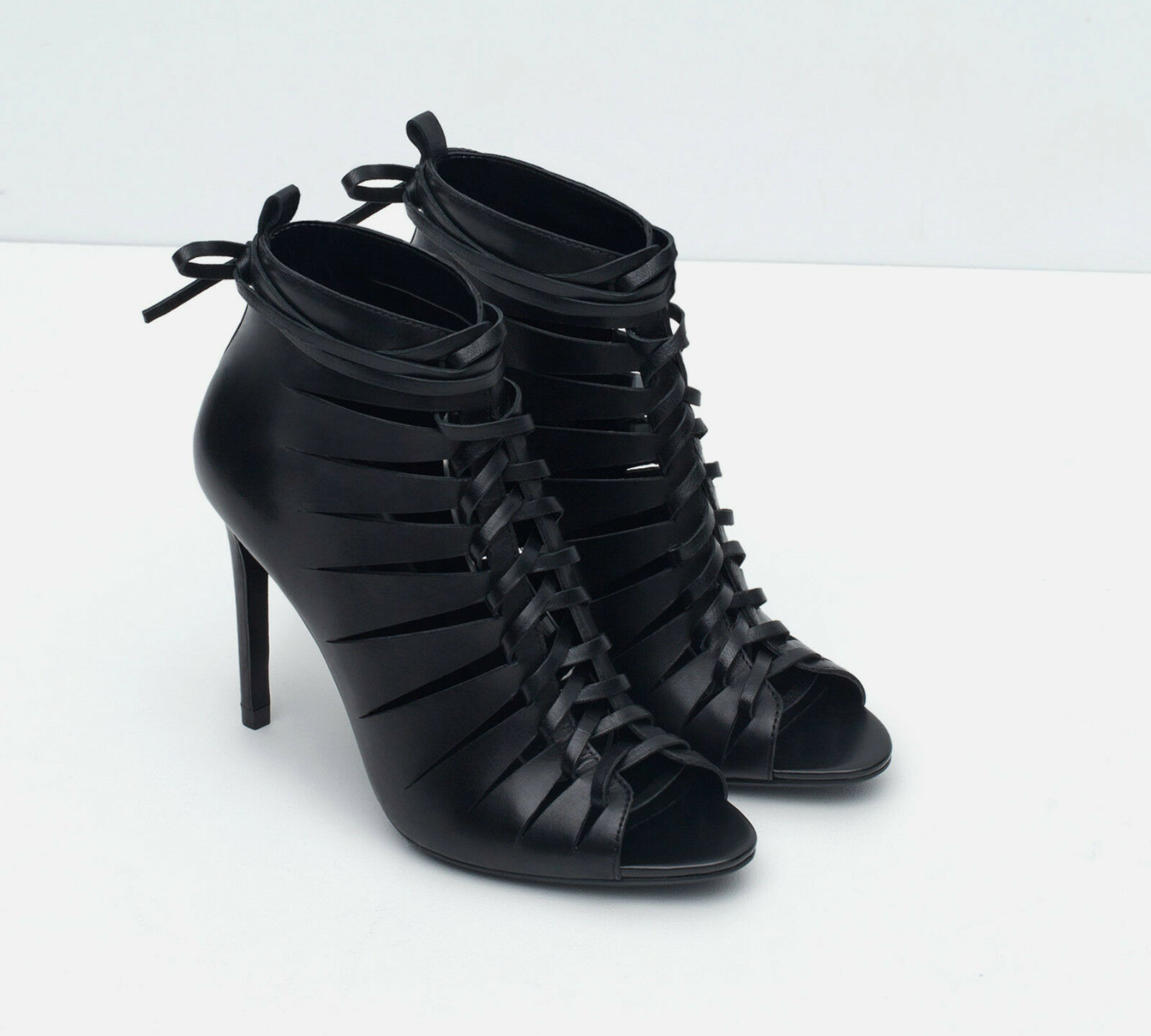 ZARA BLACK LEATHER HIGH HEEL UK BOOTIE STYLE SANDALS FW15 UK HEEL SIZES 5, 6 & 7 NEW a92bfe