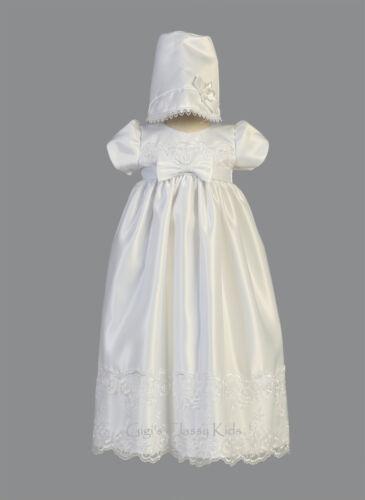 Baby Flower Girls White Satin Long Dress Gown Christening Baptism Dedication