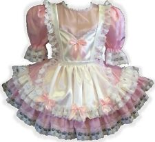"""Anne"" Custom Fit Pink & White Satin Adult Baby LG Sissy Dress LEANNE"