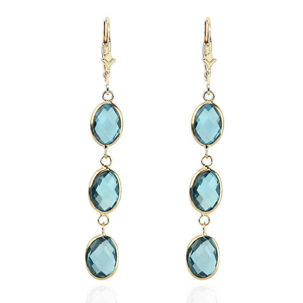 14k yellow gold gemstones earrings with blue topaz drop