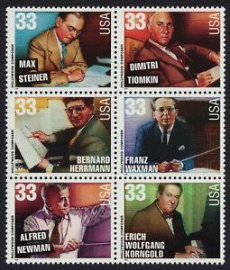 #3344a 33c Hollywood Compositores, Se-Tenant Bloque, Nuevo Cualquier 5=