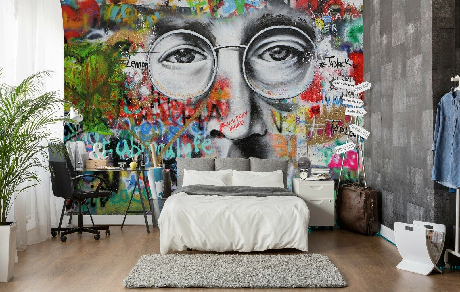 3D Graffiti Face 837 Wallpaper Mural Paper Wall Print Indoor Murals CA Summer