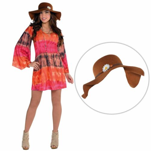 Adulte Femmes 60 S Tie Dye Hippie Robe /& Chapeau Accessoire Costume Robe Fantaisie