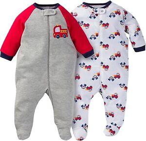 Red Firetruck GERBER BABY BOYS 2-Piece Sleep N Plays Zippered Baby Shower Gift
