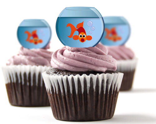 ✿ 24 Edible Rice Paper Cup Cake Topper Goldfish ✿ decorations